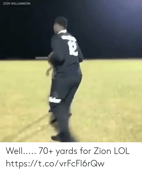 Lol, Memes, and 🤖: ZION WILLIAMSON Well..... 70+ yards for Zion LOL https://t.co/vrFcFl6rQw