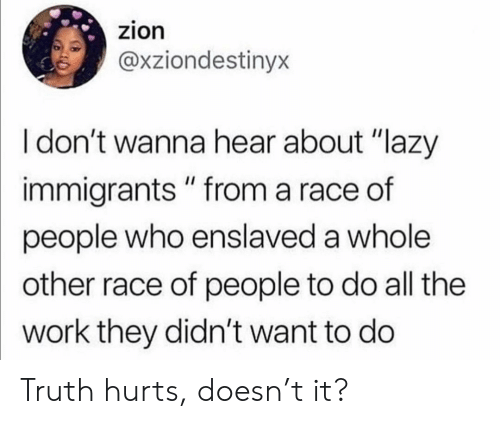 "Immigrants: zion  @xziondestinyx  I don't wanna hear about ""lazy  immigrants "" from a race of  people who enslaved a whole  other race of people to do all the  work they didn't want to do Truth hurts, doesn't it?"