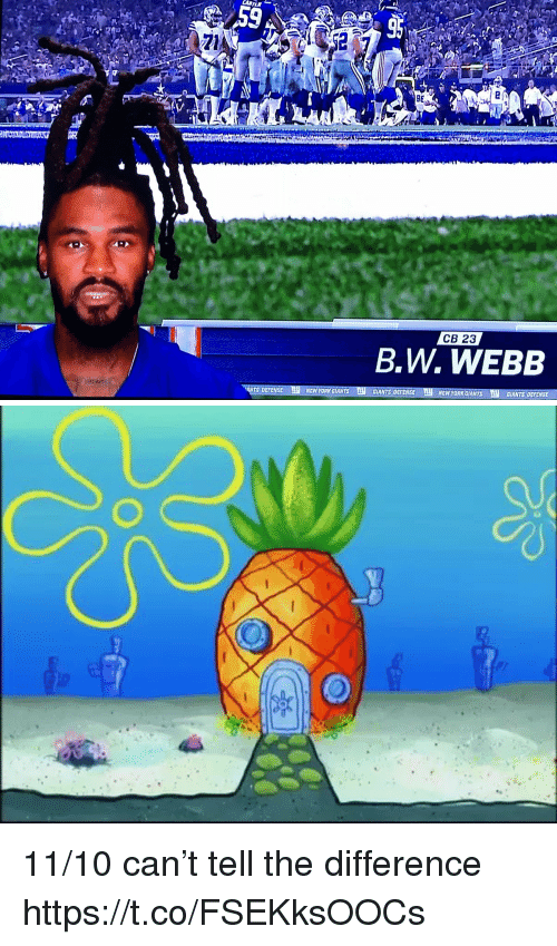 SpongeBob, Sports, and Giants: Zl  9E  CB 23  B.W. WEBB  NEW YORKaIAN  CİANTS DEFENSE  ENsC LL NaW YORKGIANTS  GIANTS OEIENS 11/10 can't tell the difference https://t.co/FSEKksOOCs