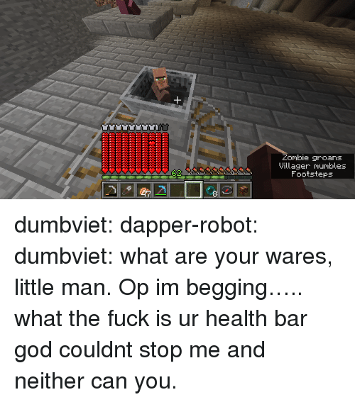 God, Tumblr, and Blog: Zombie groans  Villager mumbles  Footsteps dumbviet:  dapper-robot:  dumbviet: what are your wares, little man.  Op im begging….. what the fuck is ur health bar   god couldnt stop me and neither can you.