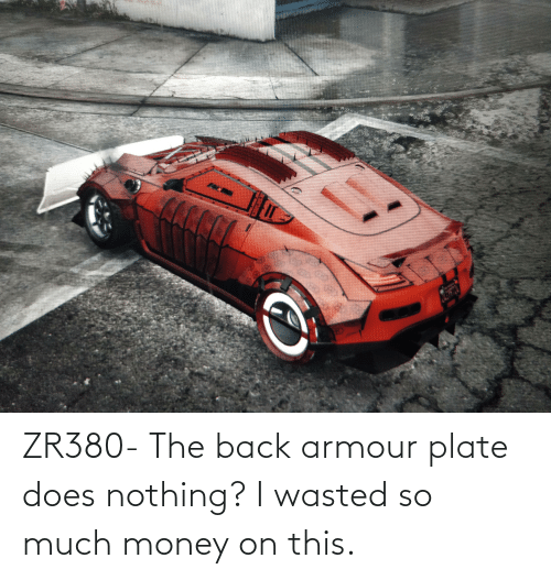 Money: ZR380- The back armour plate does nothing? I wasted so much money on this.