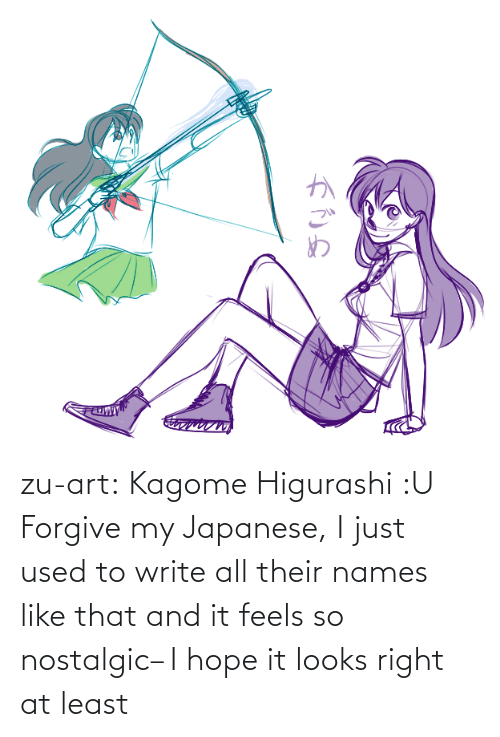 Del: zu-art:  Kagome Higurashi :U Forgive my Japanese, I just used to write all their names like that and it feels so nostalgic– I hope it looks right at least