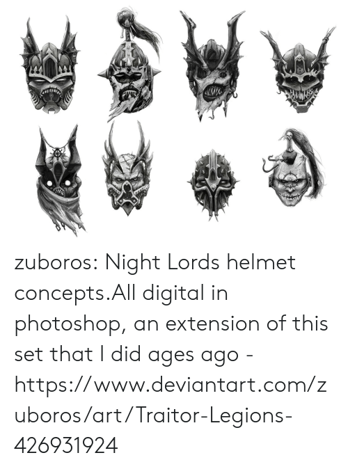 helmet: zuboros:  Night Lords helmet concepts.All digital in photoshop, an extension of this set that I did ages ago - https://www.deviantart.com/zuboros/art/Traitor-Legions-426931924
